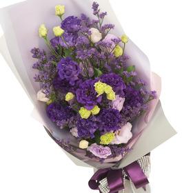 보라색 리시안 꽃다발